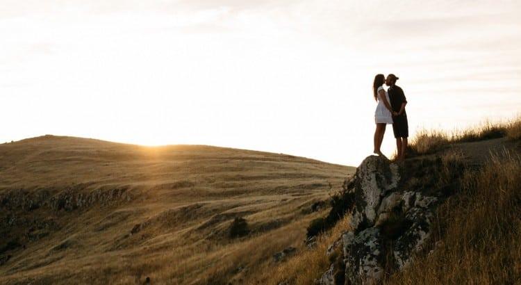 Romantic couple in Scottish Highland